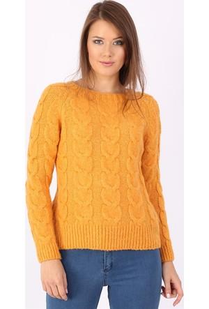 Zdn Jeans Kadın Sarı Triko Kazak T6805