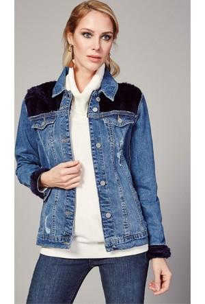 Zdn Jeans Kadın Lacivert Kürklü Mavi Denim Ceket M11