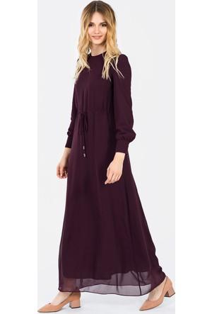 İroni Beli Büzgülü Şifon Uzun Elbise
