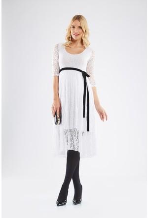 Lyn Devon Lal Dantel Elbise Beyaz