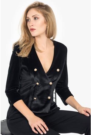 İroni Kruvaze Kadife Blazer Ceket