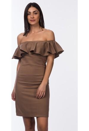 İroni Fırfırlı Straplez Süet Elbise