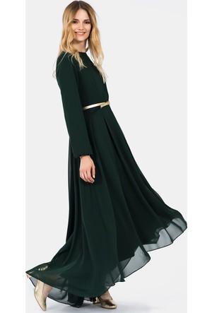 İroni Uzun Kollu Şifon Zümrüt Maxi Elbise