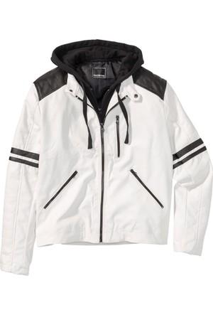 Bonprix Erkek Beyaz Suni Deri Ceket Regular Fit