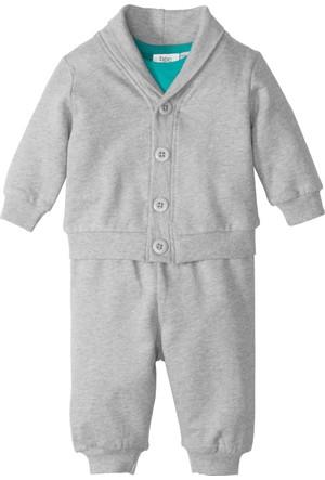 Bonprix Erkek Bebek Yeşil Sweat Ceket + Sweat Pantolon + Body (3'lü Takım)