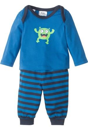 Bonprix Erkek Bebek Mavi Uzun Kol T-Shirt + Eşofman Altı (2'li Takım)