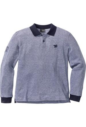 Bonprix Erkek Mavi Polo Yaka Sweatshirt Regular Fit