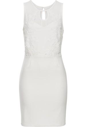 Bonprix Kadın Beyaz Scuba Kumaş Dantelli Abiye Elbise