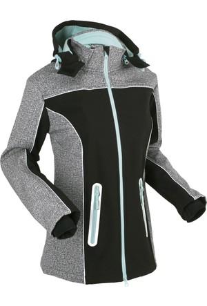 Bonprix Kadın Siyah Reflektörlü Softschell Sweatshirt