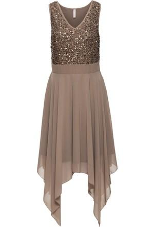 Bonprix Kadın Kahverengi Payet Detaylı Abiye Elbise
