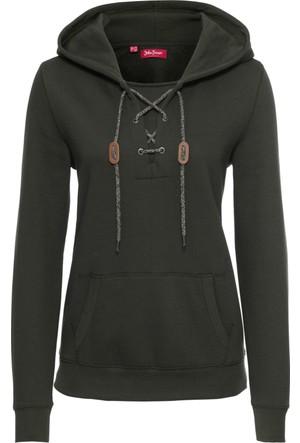 Bonprix Kadın Yeşil Kapüşonlu & Bağcıklı Sweatshirt