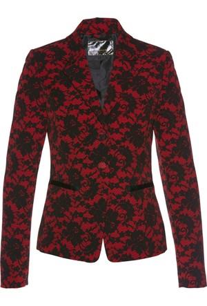 Bonprix Kadın Kırmızı Dantel Baskılı Blazer Ceket