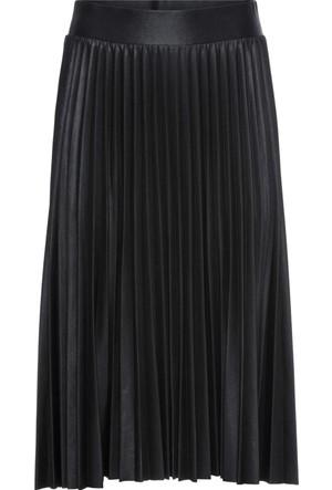 Bonprix Kadın Siyah Metalik Görünümlü Plise Etek