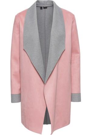 Bonprix Kadın Pembe Velur Görünümde Blazer Ceket