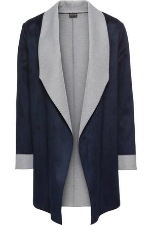 Bonprix Kadın Mavi Velur Görünümde Blazer Ceket