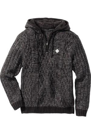 Bonprix Erkek Gri Kapüşonlu Sweatshirt Slim Fit