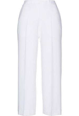 Bonprix Kadın Beyaz Geniş Kesim Kumaş Pantolon