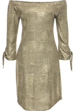 Bonprix Kadın Altın Rengi Metalik Jarse Elbise