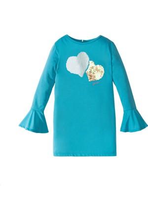 Bonprix Kız Çocuk Mavi Payetleri Çift Yönlü Elbise
