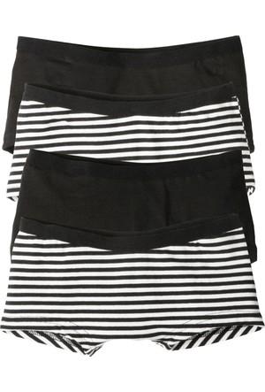 Bonprix Kız Çocuk Siyah Panty Külot (4'lü Pakette)