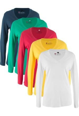 Bonprix Kadın Kırmızı V Yaka Sweatshirt 5'li
