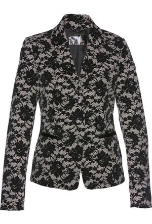 Bonprix Kadın Gri Dantel Baskılı Blazer Ceket