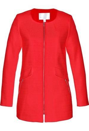 Bonprix Kadın Kırmızı Uzun Bukle Blazer Ceket