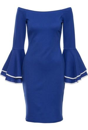Bonprix Kadın Mavi Düşük Omuzlu Abiye Elbise