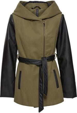 Bonprix Kadın Yeşil Suni Deri Detaylı Ceket