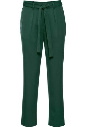 Bonprix Kadın Yeşil Kemerli Kumaş Pantolon