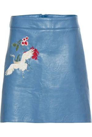Bonprix Kadın Mavi İşlemeli Suni Deri Etek