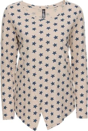 Bonprix Kadın Bej Düğmeli Sweatshirt