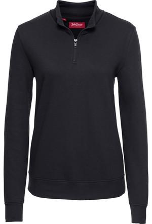 Bonprix Kadın Siyah Fermuarlı Sweatshirt