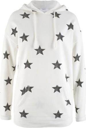 Bonprix Kadın Beyaz Kapüşonlu Sweatshirt