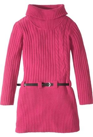Bonprix Kız Çocuk Pembe Kemerli Örgü Elbise