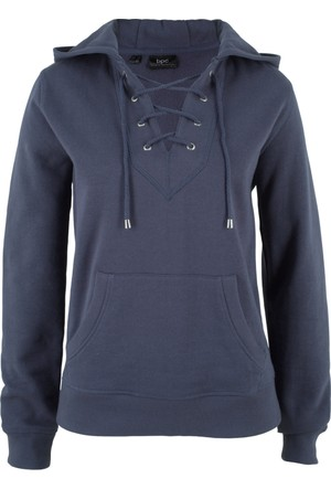 Bonprix Kadın Mavi Kapüşonlu Sweatshirt