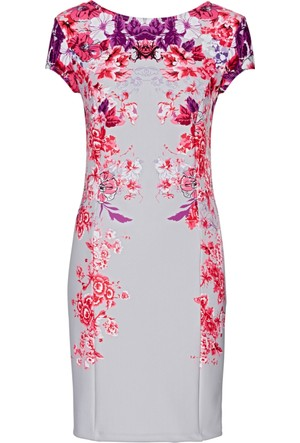 Bonprix Kadın Gri Çiçek Desenli Elbise