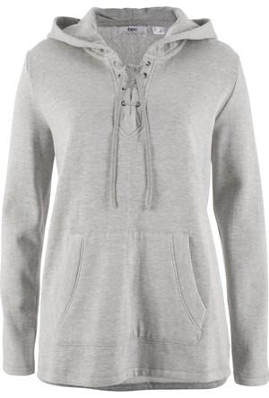 Bonprix Kadın Gri Kapüşonlu Sweatshirt