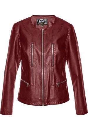 Bonprix Kadın Kırmızı Suni Deri Ceket