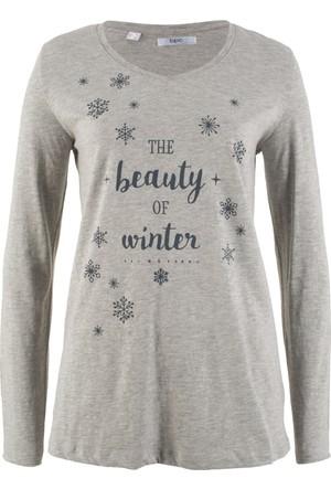 Bonprix Kadın Gri Sweatshirt