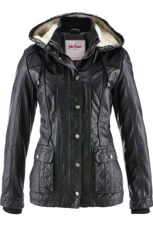Bonprix Kadın Siyah Suni Deri Ceket