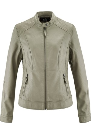 Bonprix Kadın Gri Suni Deri Ceket