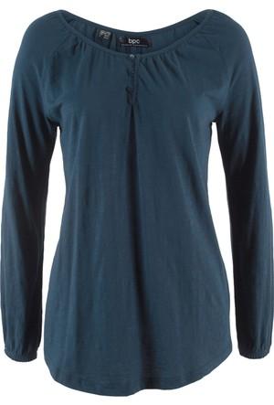 Bonprix Kadın Mavi Uzun Kollu Bluz