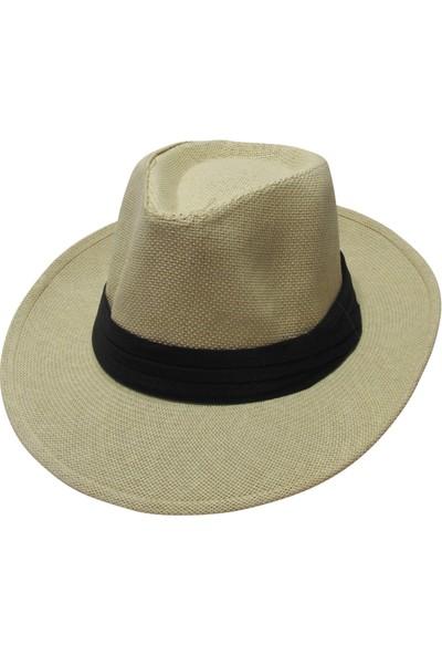 Laslusa Şeritli Kovboy Panama Hasır Fötr Şapka