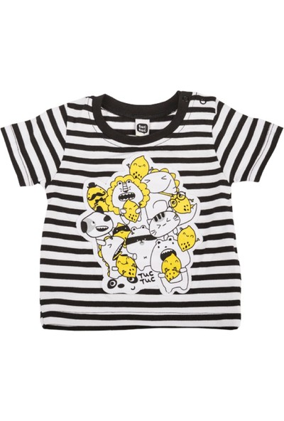 Tuc Tuc Çizgili Baskılı T-shirt Crazy Lemons Siyah - Beyaz Çizgili