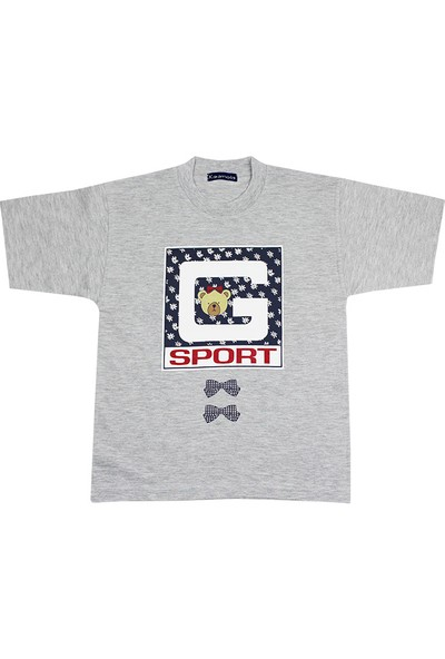 Tandem Kız Çocuk Baskılı T-shirt Gri Melanj