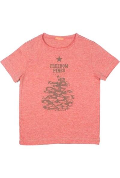 Karamela Baba T-shirt Pine Baskı Oranj