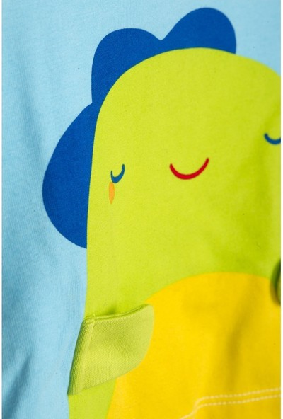 Tuc Tuc Erkek Bebek T-shirt Şort Takım Mini Monster Mavi - Yeşil