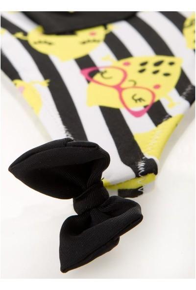 Tuc Tuc Kız Çocuk Çizgili Slip Mayo Crazy Lemons Beyaz - Siyah Çizgili