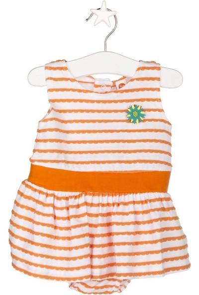 Tuc Tuc Çizgili Elbise Fresh Beyaz - Oranj Çizgili